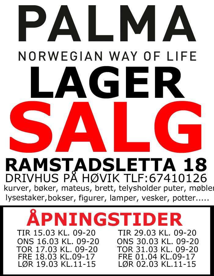 Enorm LAGERSALG - PALMA INTERIØR HOLDER STORT LAGERSALG AR-28