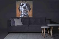 Thumb sofa velur hund liten